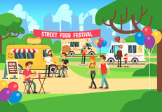 Cartoon street food festival with people and trucks vector background. Street food festival and market illustration vector illustration