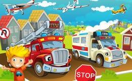 Cartoon street - illustration for the children stock illustration