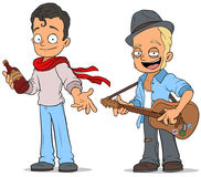 Cartoon street musician with guitar characters set Royalty Free Stock Images