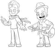 Cartoon street musicians with guitar character vector set Stock Photography