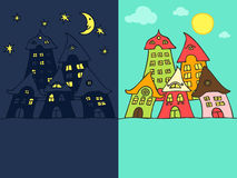 Cartoon street night & day. Cute cartoon street night and day version, with space for your text Royalty Free Stock Image