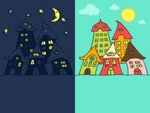 Cartoon street night & day vector illustration
