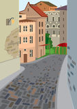 Cartoon Street Of Old Town Royalty Free Stock Image