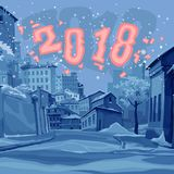 Cartoon street of old town in the winter of 2018 Stock Photography