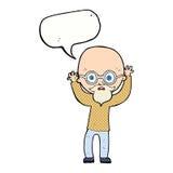 Cartoon stressed bald man with speech bubble Royalty Free Stock Photos