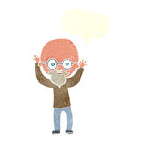 Cartoon stressed bald man with speech bubble Royalty Free Stock Image