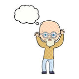 cartoon stressed bald man with thought bubble Royalty Free Stock Image