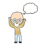 cartoon stressed bald man with thought bubble Royalty Free Stock Images
