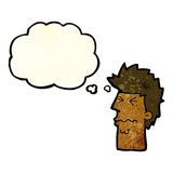 cartoon stressed out face with thought bubble Stock Image