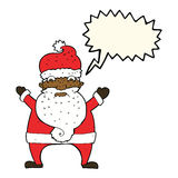 Cartoon stressed out santa with speech bubble Stock Photo