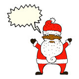 Cartoon stressed out santa with speech bubble Royalty Free Stock Photography