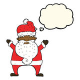 Cartoon stressed out santa with thought bubble Stock Photos