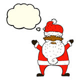 Cartoon stressed out santa with thought bubble Royalty Free Stock Photography