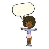 cartoon stressed out woman talking with speech bubble Stock Images