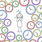 Cartoon stressed stick man surrounded by clocks Royalty Free Stock Photo
