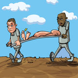 Cartoon stretcher bearers Royalty Free Stock Images