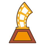 Cartoon strip film trophy awards gold wooden. Vector illustration eps 10 Stock Photos