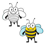 Cartoon striped bee insect with happy smile Stock Photography