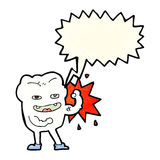 cartoon strong healthy tooth with speech bubble Stock Photos