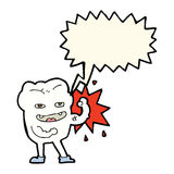 cartoon strong healthy tooth with speech bubble Stock Image