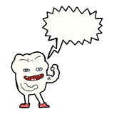 cartoon strong healthy tooth with speech bubble Royalty Free Stock Photography