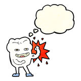 cartoon strong healthy tooth with thought bubble Stock Photo