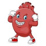 A cartoon strong human heart character royalty free illustration