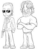 Cartoon strong secret agents character vector set Royalty Free Stock Photography