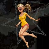 Cartoon strongly surprised girl in a jump on a dark background. Cartoon strongly surprised girl in a jump on dark background vector illustration