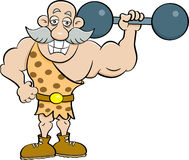 Cartoon strongman holding a barbell. Stock Images
