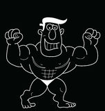Cartoon Strongman. Monochrome outline cartoon strongman isolated on black background Stock Image