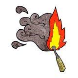 Cartoon struck match. Burning Stock Photography