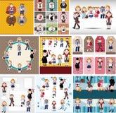 Cartoon student card Stock Photos