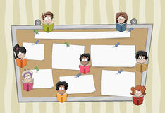 Cartoon student children reading books over a big board with papers. Royalty Free Stock Photos