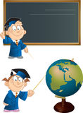 Cartoon students. The illustration shows cartoon the boy near blackboard with a pointer and a girl near the Globe.Illustration done on separate layers Royalty Free Stock Photos