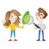 Cartoon students biology leaf magnifying glass Stock Photography