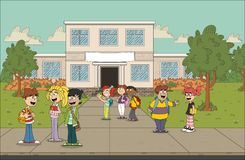 Cartoon students in front of school. Building Royalty Free Stock Photo