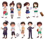Cartoon Students Set Stock Image