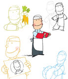 Cartoon study of a chef. A group of study drawings of a cartoon character of a chef Royalty Free Stock Photography