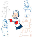 Cartoon study of a chef. A group of study drawings of a cartoon character of  a chef Royalty Free Stock Images