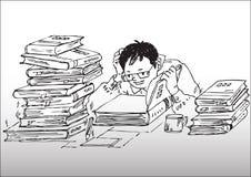 Cartoon_studying que trabaja difícilmente Fotos de archivo libres de regalías