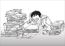 Cartoon_studying working hard Royalty Free Stock Photos
