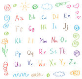 Cartoon style alphabet children drawing  Royalty Free Stock Images