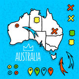 Cartoon style Australia travel map with pins Stock Images