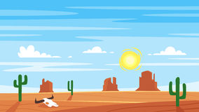 Cartoon style background with hot west desert Royalty Free Stock Photography