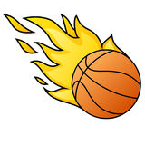 Cartoon style basketball ball with flames. Cartoon style basketball ball illustration with flames Stock Image