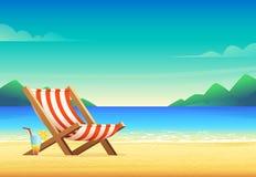 Cartoon style beach chair illustration. Sunbed on sandy bay.  Stock Images