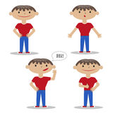 Cartoon style boy wearing jeans and t-shirt. Vector illustrations collection on white background. Flat set of a young guy with different gestures, vector Royalty Free Illustration