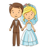 Cartoon style bride and groom. Holding hands Royalty Free Stock Image