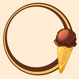 Round frame with chocolate ice cream cone. The cartoon style. Bright vector illustration stock illustration